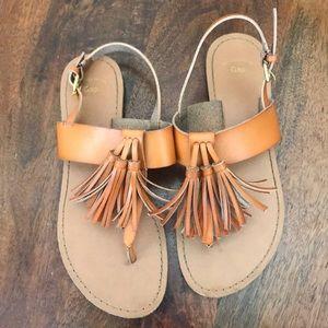 GAP Cognac Leather Tassel Sandals sz 6